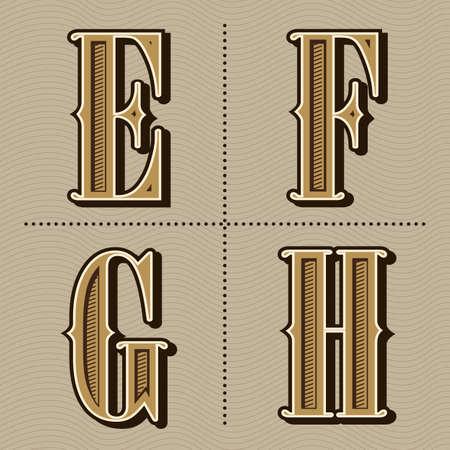 Western alphabet letters vintage design vector (e, f, g, h) Ilustração