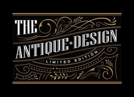Antique frame label western hand drawn border typography engraving vintage retro vector illustration