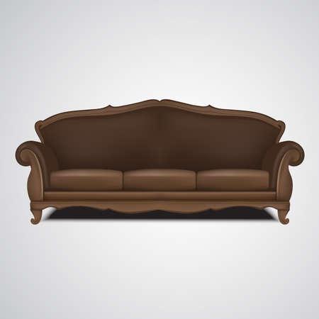 Sofa vector antique furniture isolated illustration Ilustracja