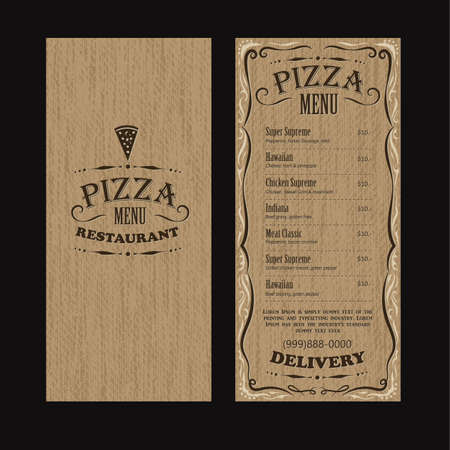 Pizza restaurant menu template design on a black background