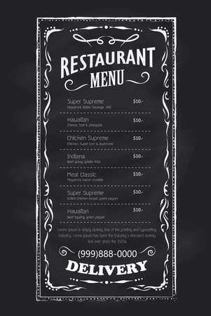 Restaurant menu template on a blackboard background with a frame