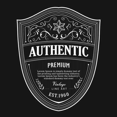 Antique badge label typography vintage frame design vector