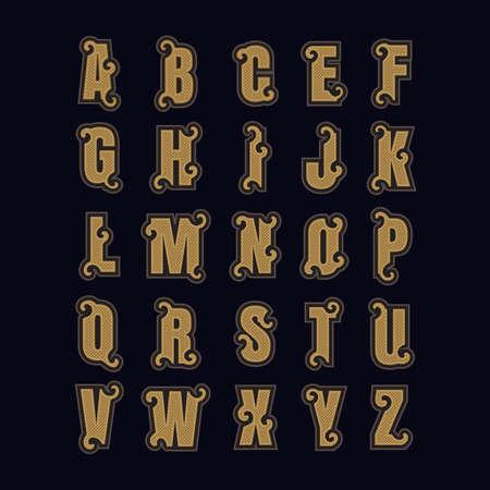 Set alphabet letters vintage design vector