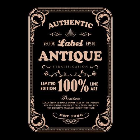 Antique frame vintage badge label typography design vector