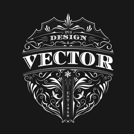 Vintage badge antique label typography design vector