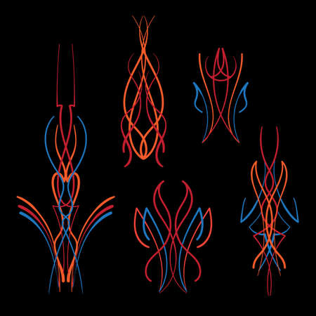 Pinstripe vintage design line art vector