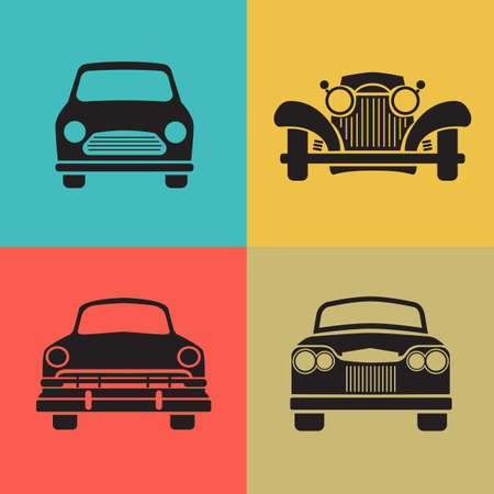 Set classic car front view icon vector