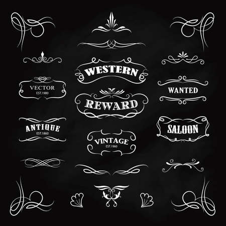 Western badge hand drawn blackboard banners vintage vector