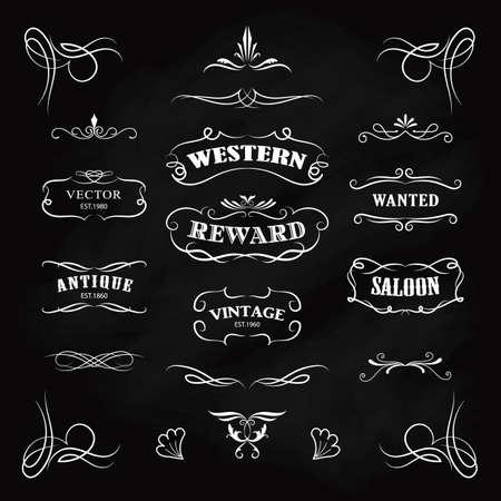 Western badge disegnati a mano lavagna banner vettore vintage Vettoriali