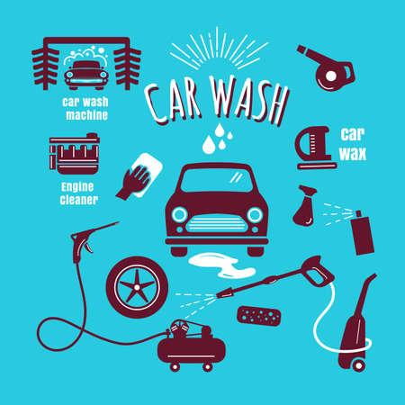 Set car wash icon hand drawn vintage design vector