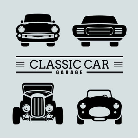 Set classic car front view icon vector illustrations