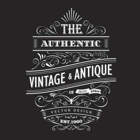 Vintage frame design western label blackboard typography border vector Ilustracja