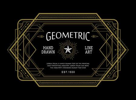Vintage linear thin line geometric shape art deco retro design frame badge Ilustracja