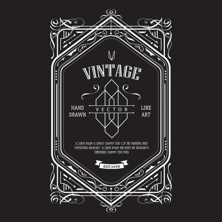 Vintage border western label antique frame engraving retro vector illustration