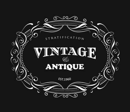 Vintage frame design antique label border vector Ilustracja