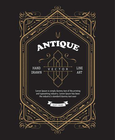 Vintage label design antique frame border retro vector illustration