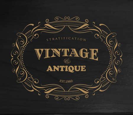Design vintage frame antique label border vector Ilustracja