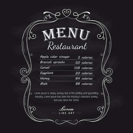 Blackboard restaurant menu vintage hand drawn frame label vector Ilustracja