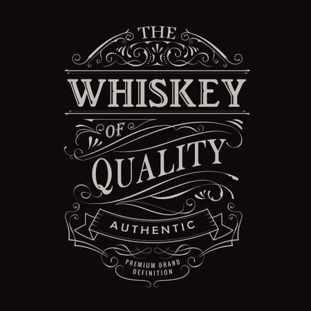 whiskey label hand drawn vintage typography blackboard border vector 向量圖像