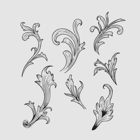 hand drawn engraving retro elements design vector illustration