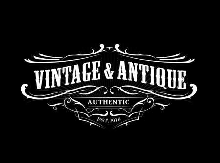 vintage badge western antique frame label retro vector