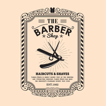 vintage frame frontera diseño retro etiqueta barber shop vector