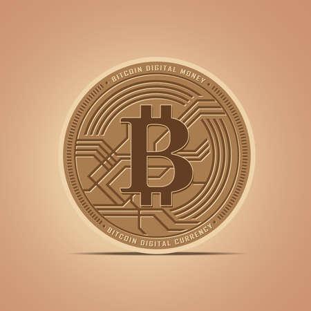 Digital money Bitcoins Flat icon vector Illustration Ilustracja