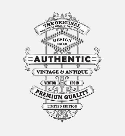 Vintage western antique frame label typography border vector illustration Ilustracja