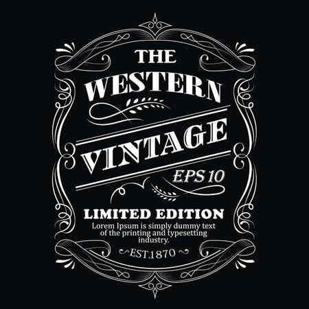 Hand drawn frame Western label blackboard antique typography border vintage vector illustration Ilustracja