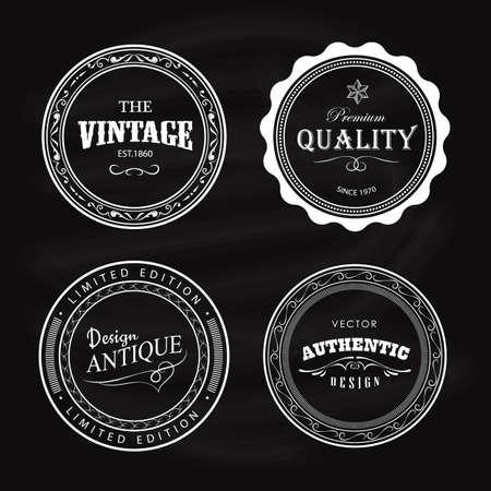 Antique badge vintage label circle retro design vector Ilustracja