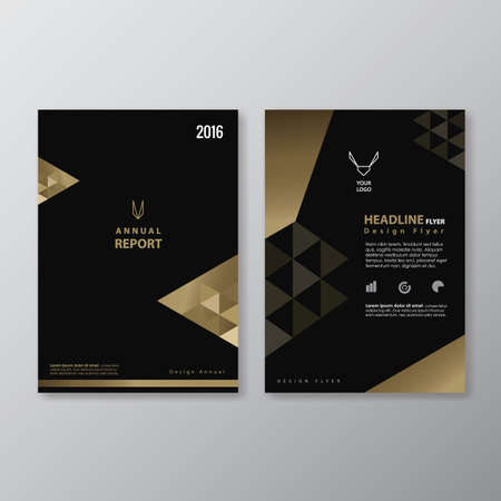 Black and Gold Flyer design vintage Abstract Triangle shape Layout  Poster Brochure vector template