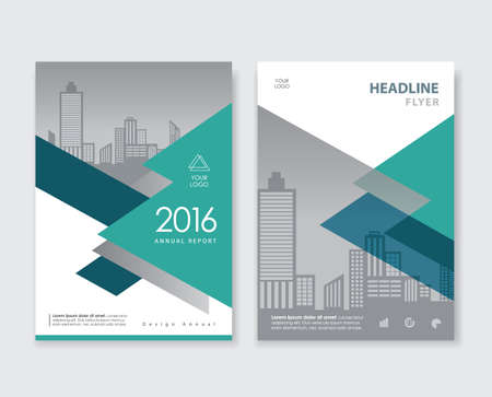 Green annual report flyer brochure leaflet book cover design layout template 向量圖像