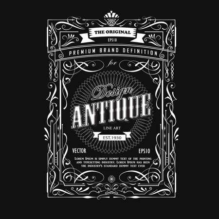 Vintage frame design western label antique border blackboard typography vector