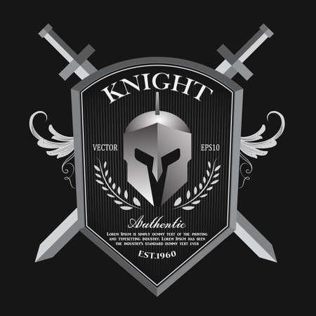 Knight shield and helmet vintage badge logo vector Ilustracja