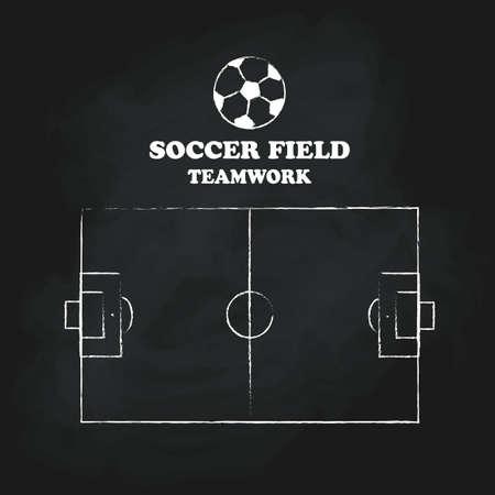 Soccer field vintage hand drawn blackboard vector illustration