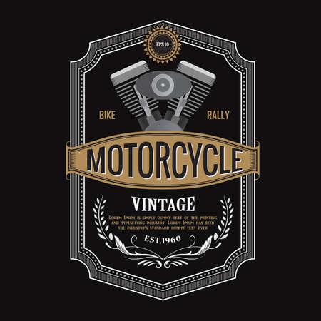 antique label design Motorcycle engine banner typography vector illustration Ilustracja