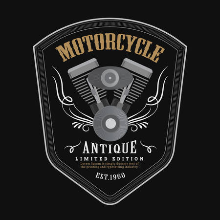 Vintage motorcycle engine logo Shield emblem banner vector