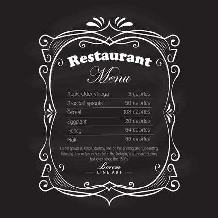 Restaurant menu cadre tableau noir vintage rétro étiquette vecteur dessiné à la main