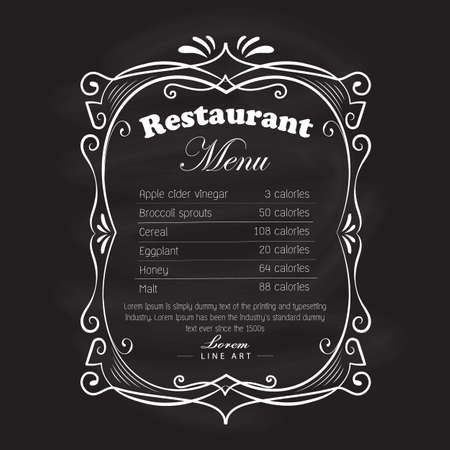 Restaurante menú marco pizarra vintage dibujado a mano etiqueta retro vector