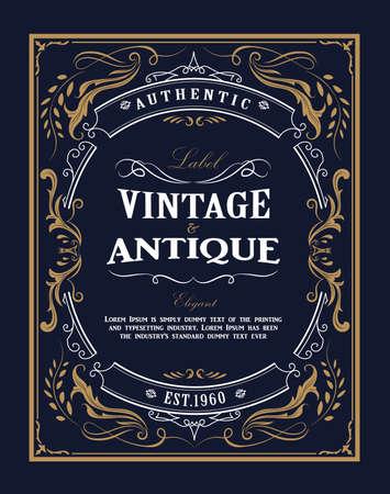 Cadre dessiné à la main Étiquette vintage occidentale Bannière antique s'épanouit illustration vectorielle de conception Vecteurs