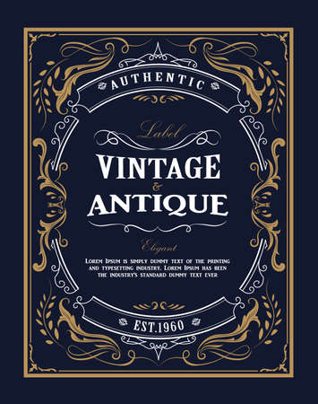 Cornice disegnata a mano Etichetta vintage occidentale Banner antico fiorisce illustrazione vettoriale di design Vettoriali