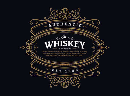 whiskey label vintage badge antique hand drawn frame retro design vector 向量圖像
