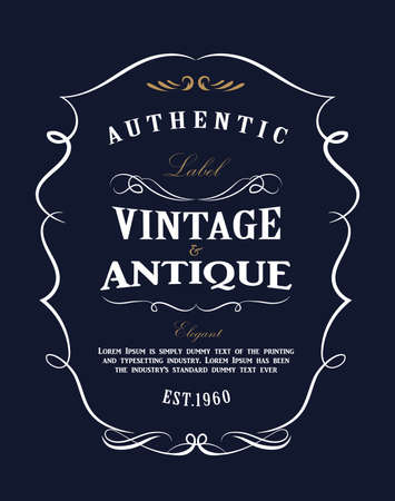 Western Hand drawn frame design vintage label Antique banner flourishes vector illustration