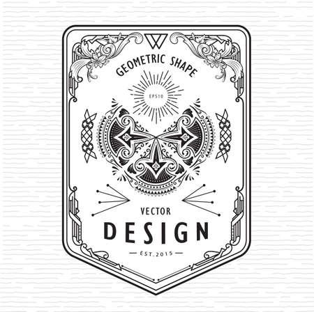 Set of vintage linear thin line geometric shape retro design art deco elements with frame badge corner Banco de Imagens - 153403374