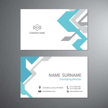 White business cards set technology template vector design