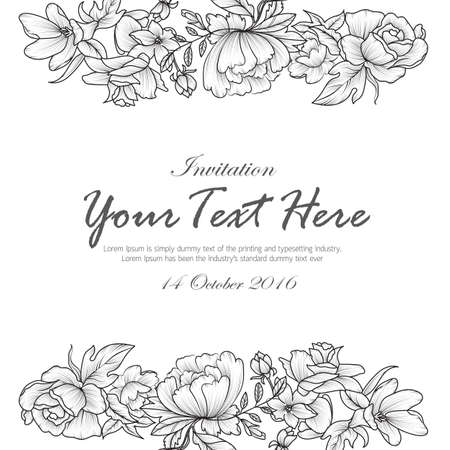 Hand draw flowers black and white invitation card design background template vector illustration