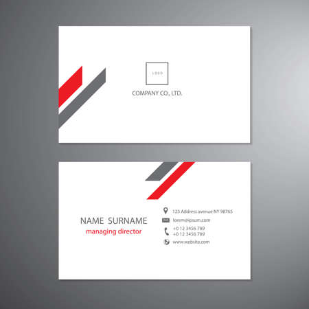 White and red business cards set technology template vector design