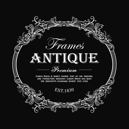 vintage frame hand drawn antique engraving label banner vector illustration 向量圖像