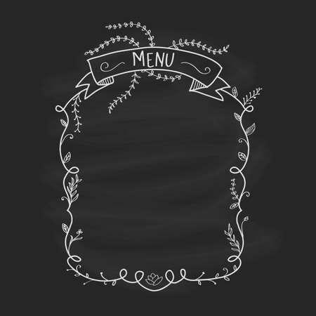 Restaurant menu blackboard vintage hand draw frame floral vector illustration Banco de Imagens - 153350621