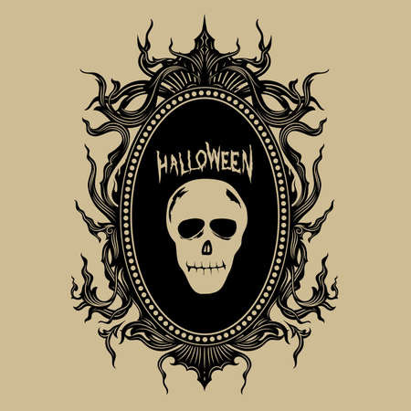 vintage hand draw frame halloween stickers vector illustration 向量圖像